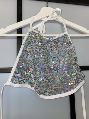 WHITE SEQUIN HALTER TOP