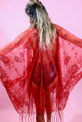 MADE TO ORDER - Hot Chili Sequin Kimono