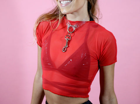 Hot Chili Mesh Crop Top