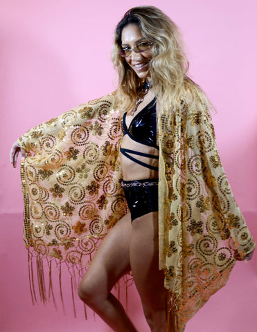 MADE TO ORDER - Golden Baby Sequin Kimono