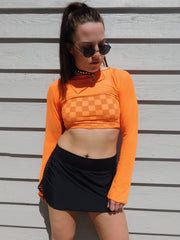 Naranja Long Sleeve Mesh Top