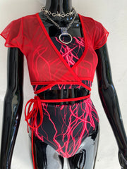Diabla Mesh Wrap Crop - Red
