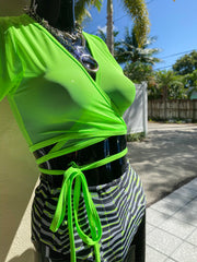 Diabla Mesh Wrap Crop - Lime Green