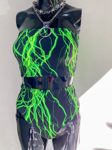 Here Comes The Storm Tube Top - Lime Green