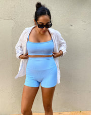 BABY BLUE RIB SPORTY BRA TOP