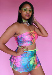 Rainbow Serpiente Wrap Mini Skirt
