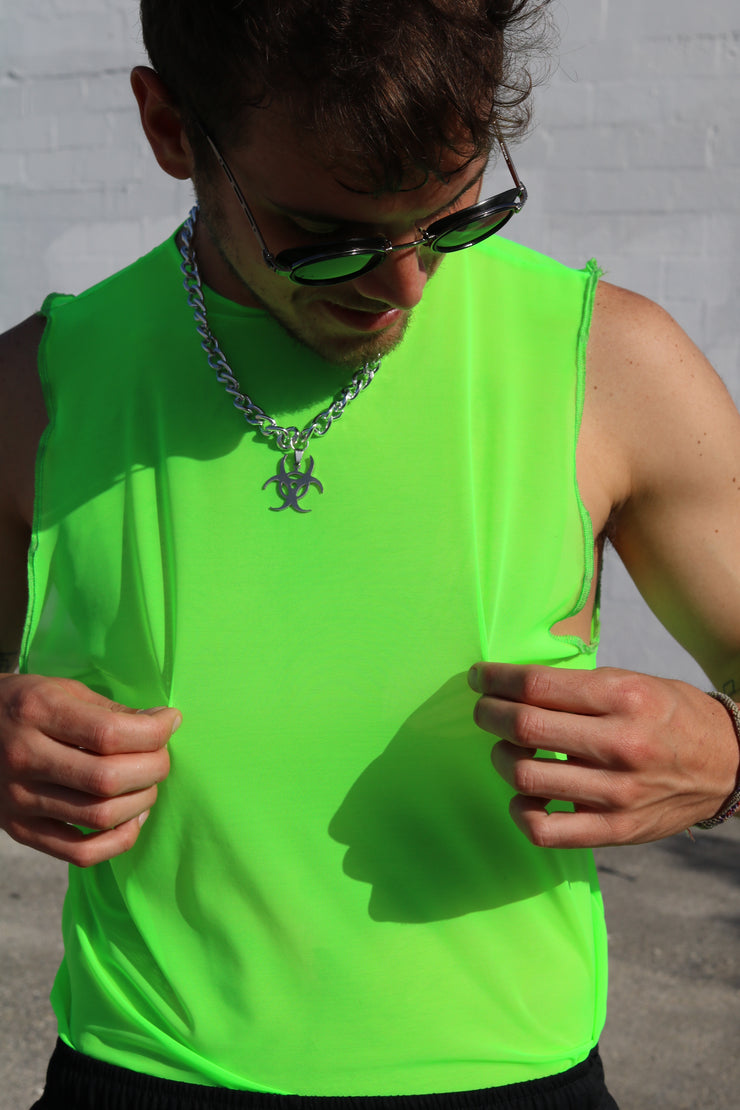 Neon Lime Mesh Muscle Tank