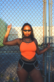 The X Halter Top - Naranja