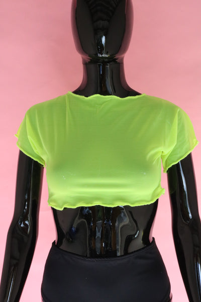 Neon Yellow Mesh Crop Top