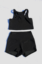 BLACK RIB YOGA SHORTIES