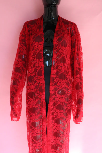 Rapture Duster Jacket - Red Lace
