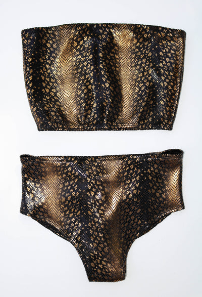 Snakecharmer Gold Black Velvet High Waist Bottoms