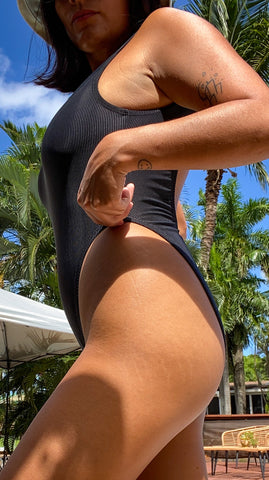 Black Rib High Leg One Piece (MADE TO ORDER)