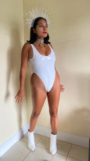 Cyclone White Vinyl High Leg One Piece (MADE TO ORDER)