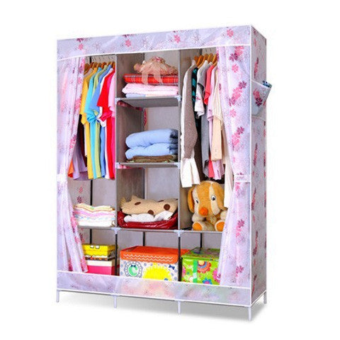 Floral Rubber maid 3 doors Wardrobe clothing storage and closet Organizer - Appointus Online Stores