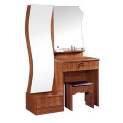 Brown Wooden polished Dressing table with two Mirrors - Appointus Online Stores