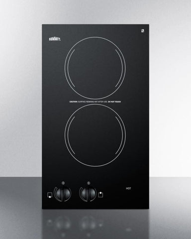 115V two-burner cooktop in black ceramic glass, made in Europe CR2110 - Good Wine Coolers