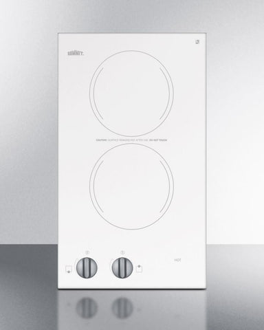 115V two-burner cooktop in white ceramic glass CR2110WH - Good Wine Coolers