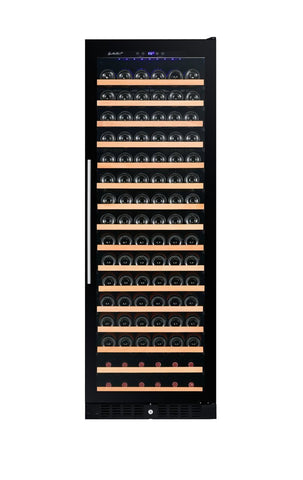 166 BOTTLE SINGLE ZONE WINE COOLER BLACK GLASS RW428SRG