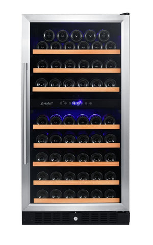 89 BOTTLE DUAL ZONE WINE COOLER WITH STAINLESS TRIM RE1000016