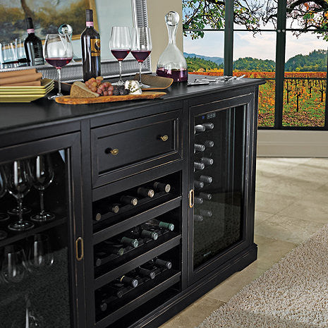 Wine Refrigerator Reviews >> Siena Wet Bar Wine Credenza Nero with Wine Refrigerator – Good Wine Coolers