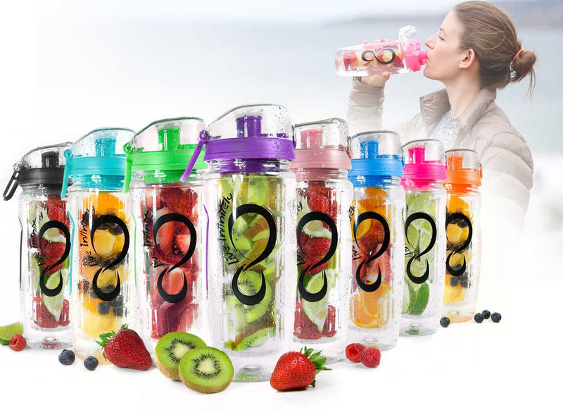 Full Length Infuser Bottles - 32 Oz Flip Top Fruit Infuser Water Bottle