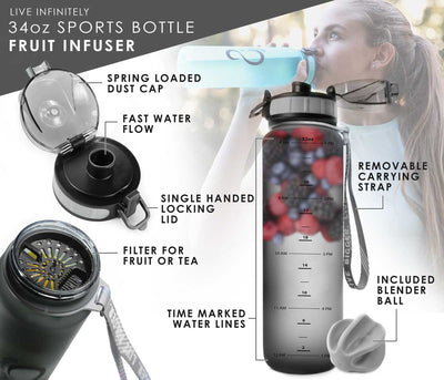 Sports Water Bottle - 34oz Sports & Ombre Water Bottle With Fruit Infuser + Time Markings