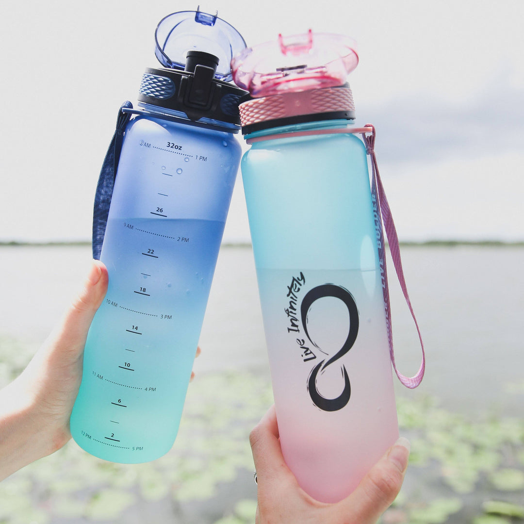 Ombre 34oz Sports Water Bottle with Fruit Infuser, Time Markings & Shaker Ball