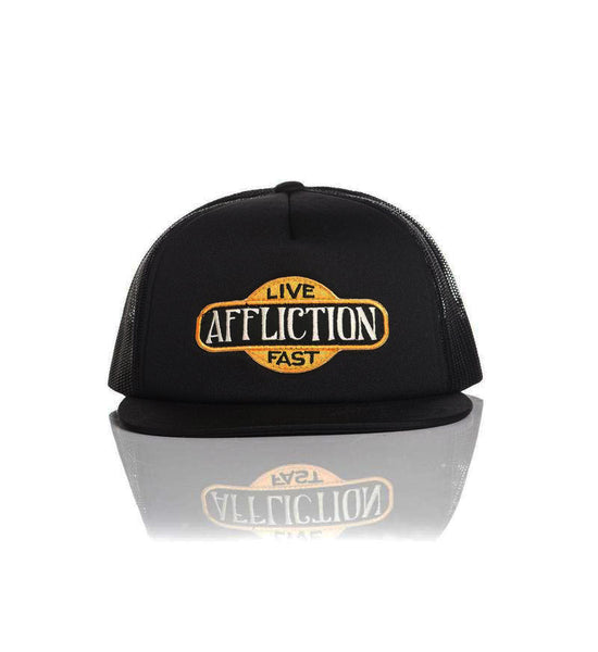 Affliction Gas Hat Adjustable Snapback Mesh Trucker Cap Black A13930 Size One Size
