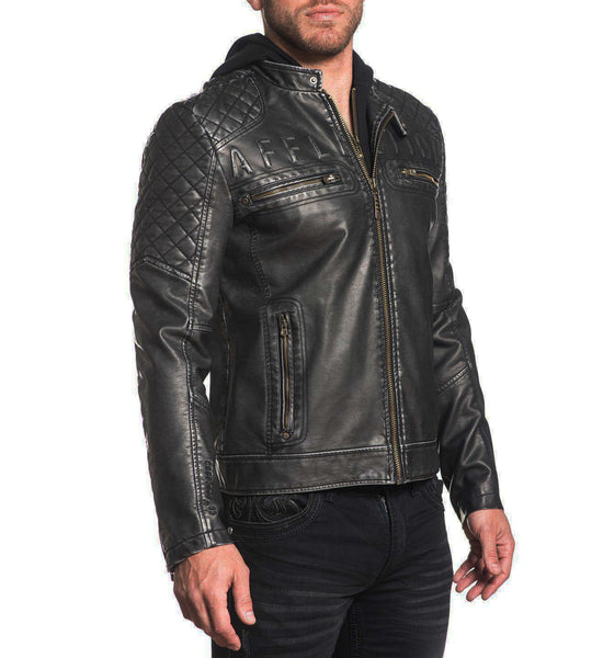 Affliction Mens Dirty Vallery Black Moto Biker Faux Leather Hooded Jacket 110OW289