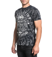 Affliction Twisted Metal Mens Graphic Crew Neck Tee A16283 Black Grey