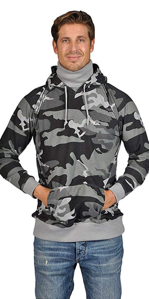 ARSNL Mens Pullover Ninja Hoodie 3371 Camo Grey Gray Tradition