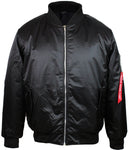 Original Deluxe Mens Zip Up Military Pilot Army Bomber Jacket Black
