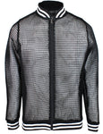 Original Deluxe Mens Fishnet Long Sleeve Transparent Mesh Top Black