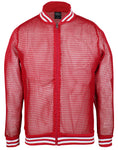 Original Deluxe Mens Fishnet Long Sleeve Transparent Mesh Top Red