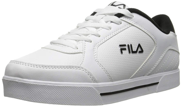 Fila Mens Low Top Leather Sneakers 1SC60102-102 White Black Metallic Silver Size- 9.5