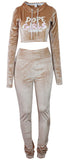 Hood Goodie Womens Panne Velvet Set Hooded Long Sleeve Top with Pants Sand