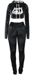 Hood Goodie Womens Panne Velvet Set Hooded Long Sleeve Top with Pants Black