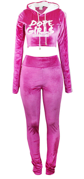 Hood Goodie Womens Panne Velvet Set Hooded Long Sleeve Top with Pants Pink