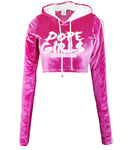 Hood Goodie Womens Panne Velvet Low Cut Hooded Long Sleeve Top Pink
