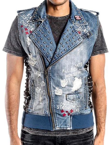 Mens Designer Denim Blue Biker Rock Ripper Zip Up Vest w Patches Saki Wash 37058