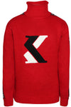 Karl Kani Men's Knitted Pullover Sweater with Turtle Neck KK1703 Red
