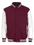 Maximos Mens Varsity Baseball Letterman Vintage Button Down Jacket Burgundy White