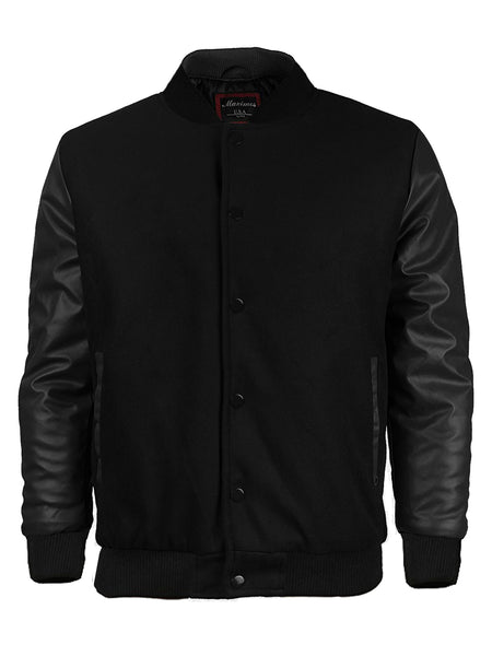 Maximos Mens Varsity Baseball Letterman Vintage Button Down Jacket Black
