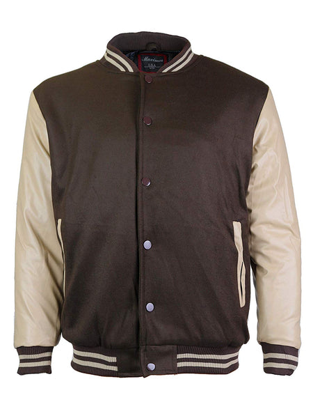 Maximos Mens Varsity Baseball Letterman Vintage Button Down Jacket Brown