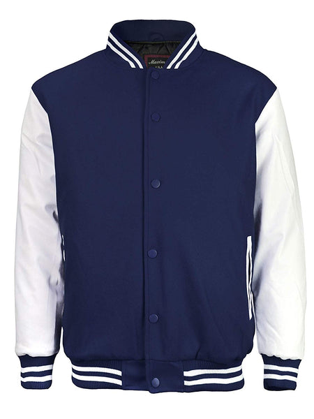 Maximos Mens Varsity Baseball Letterman Vintage Button Down Jacket Navy White