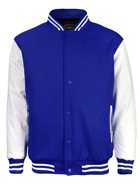 Maximos Mens Varsity Baseball Letterman Vintage Button Down Jacket Royal Blue White