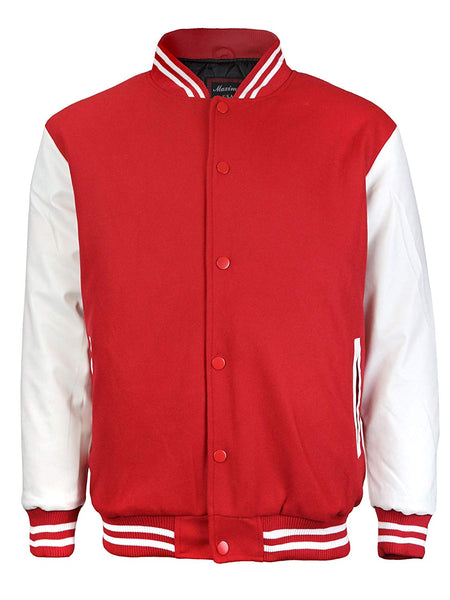 Maximos Mens Varsity Baseball Letterman Vintage Button Down Jacket Red White