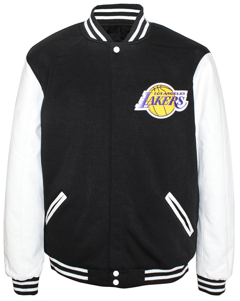 JH Design NBA Men's Reversible Fleece Jacket Los Angeles Lakers Black White
