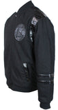 JH Design NBA Men's Reversible Fleece Jacket with Faux Alligator Leather Logos Golden State Warriors Black